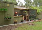 Jose's new shade house and potting shed.